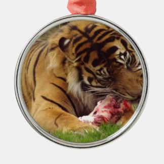 彼の肉実質の写真を食べているトラ メタルオーナメント