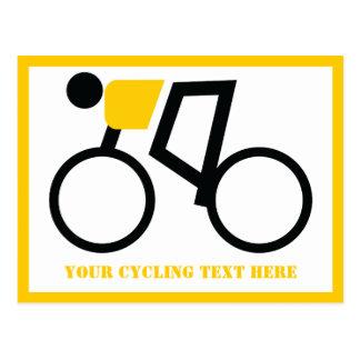 彼の自転車のカスタムに乗っているサイクリスト ポストカード