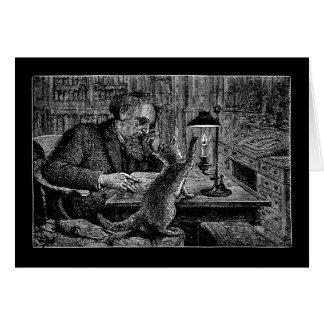 彼の蝋燭をかぎたばこを吸っているマーク・トウェインの猫 カード