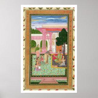 彼の配偶者が付いている皇帝Jahangir (1569-1627年) ポスター
