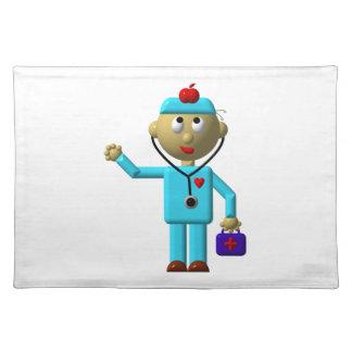 彼の頭部及び医学のバッグのAppleを持つ間抜けな医者 ランチョンマット