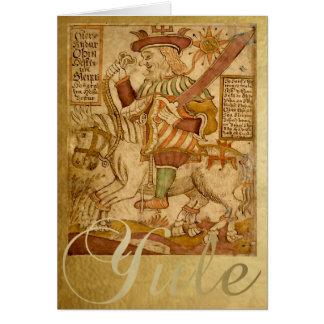 彼の馬Sleipnir -ユール(キリスト降誕祭)カードの神Odin カード