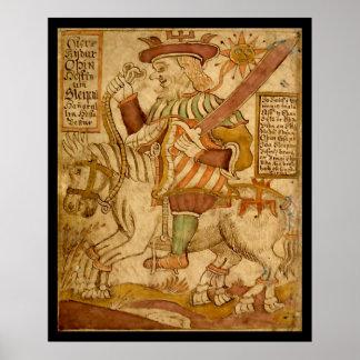 彼の8脚の馬Sleipnirの神Odin ポスター