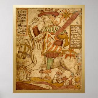 彼の8脚の馬Sleipnir - 2の神Odin ポスター