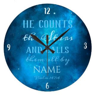 彼は宇宙の星を数えます ラージ壁時計