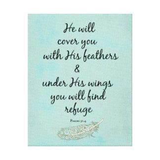 彼は彼の羽の聖書の詩で覆います キャンバスプリント