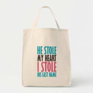 彼は私のハートを盗みました(青およびピンクで) トートバッグ