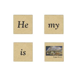 彼は私の石の聖なる書物、経典、石造りの磁石、4のセットです ストーンマグネット