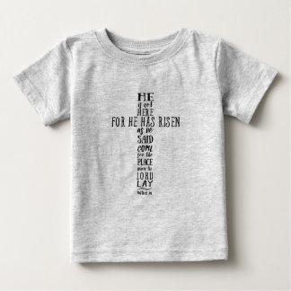 彼は- Matthewの28:6立上がりました ベビーTシャツ