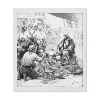 彼らの宝物および戦利品を数えているヴィンテージの海賊 キャンバスプリント