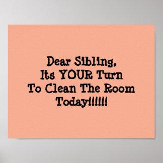 彼らの部屋を共有している兄弟姉妹のための価値ポスター ポスター