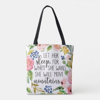 彼女が花のトートバックを目覚めさせるとき彼女の睡眠をのための許可して下さい トートバッグ