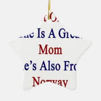 彼女だけ彼女によってがノルウェーからまたあるすばらしいお母さんです セラミックオーナメント