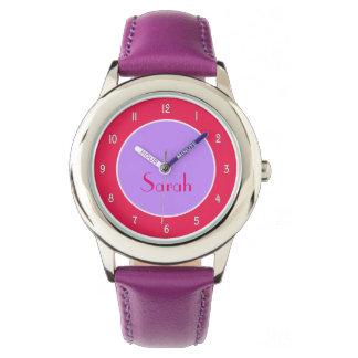 彼女のためのカスタマイズ可能な紫色および赤紫の腕時計 腕時計