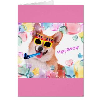 彼女のためのガラスを持つハッピーバースデーのコーギー グリーティングカード