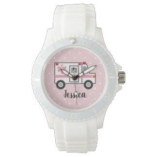 彼女のためのピンクの水玉模様EMTの救急医療隊員の腕時計 腕時計
