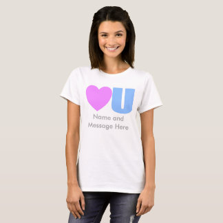 彼女のためのメッセージのTシャツ愛して下さい Tシャツ