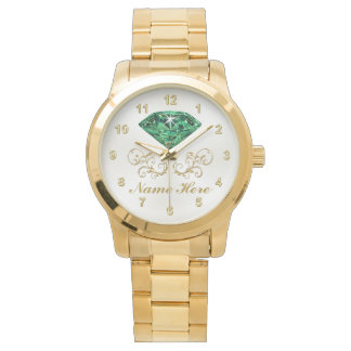 彼女のための名前入りなエメラルドの腕時計 腕時計