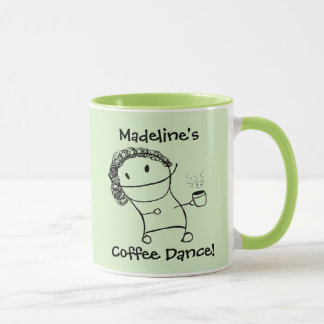 """彼女のための名前入りな""""コーヒーダンス""""のマグ マグカップ"""