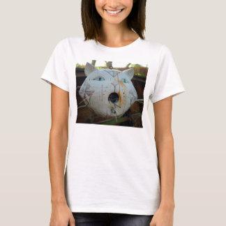 彼女のための猫の鳥の送り装置のTシャツ Tシャツ