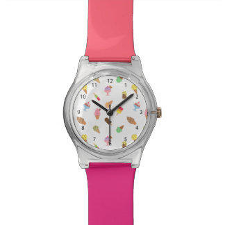 彼女のための粋でカラフルなアイスクリームパターン 腕時計