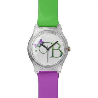 彼女のための蝶手紙BのInitia-BのモノグラムB 腕時計