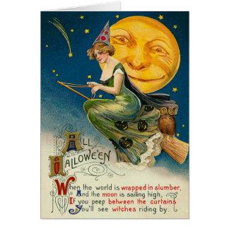 彼女のほうきで飛ぶヴィンテージの魔法使いのハロウィンカード グリーティングカード