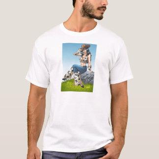 彼女のカーボーイ・ハットの絵をひっくり返している女性のカーボーイ Tシャツ