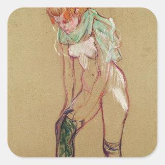 彼女のストッキング1894年を抜いている女性(カードの油) スクエアシール