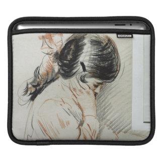 彼女のトイドッグに坐るPauletteの読書 iPadスリーブ