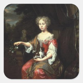 彼女のペットを握っている女性のポートレート スクエアシール