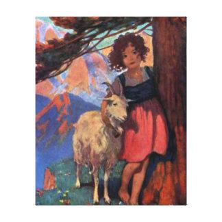 彼女のヤギが付いている草原のハイディ キャンバスプリント