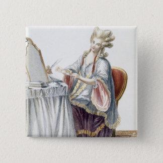 彼女の化粧台のエレガントな女性、「Gaからのプレート 5.1cm 正方形バッジ