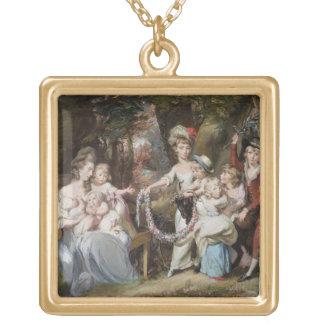 彼女の子供の夫人Justinian Casamajorおよび8、 ゴールドプレートネックレス