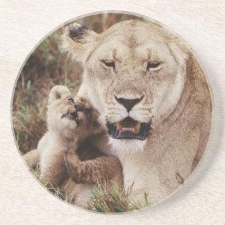 彼女の幼いこどもと坐っている母ライオン コースター
