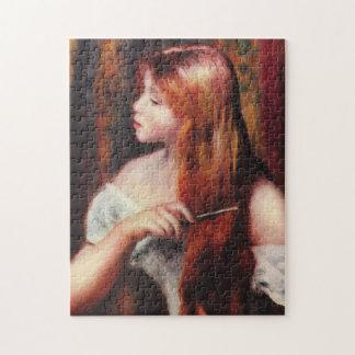 彼女の毛のパズルをとかしているルノアールの若い女の子 ジグソーパズル