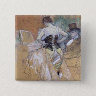 彼女の洗面所の女性、「Elles」のための勉強、c.1896 5.1cm 正方形バッジ