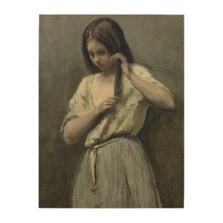 彼女の洗面所の若い女の子 ウッドウォールアート