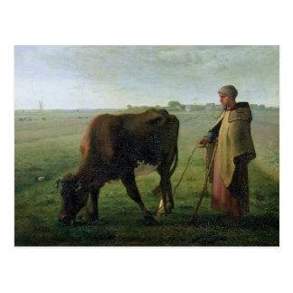 彼女の牛1858年を牧草を食べている女性 ポストカード