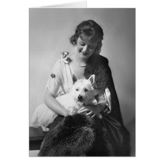 彼女の犬1915年を持つビリーBurke カード