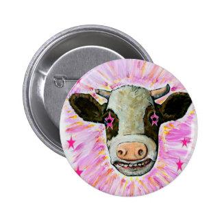 彼女の目の星を持つ牛 5.7CM 丸型バッジ