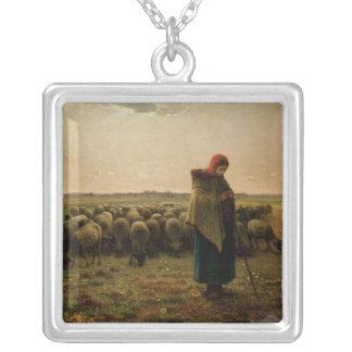 彼女の群を持つShepherdess、1863年 シルバープレートネックレス