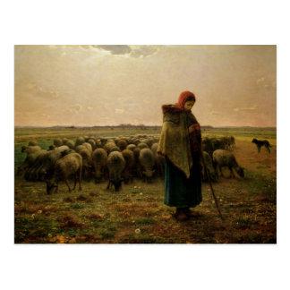 彼女の群を持つShepherdess、1863年 ポストカード