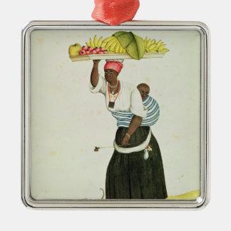 彼女の頭部のフルーツの皿を運んでいる女性 メタルオーナメント
