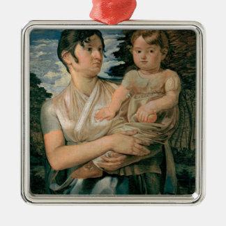彼女の2年古息子を持つポーリーンRunge - 1807年 メタルオーナメント