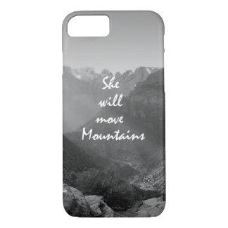 彼女は山の引用文を動かします iPhone 8/7ケース
