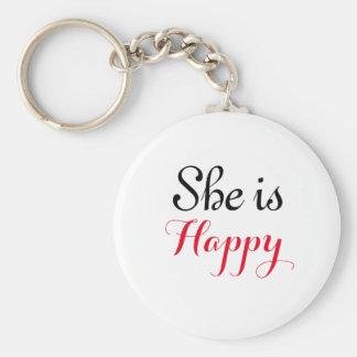 彼女は幸せな2.25才基本的なボタンKeychainです キーホルダー