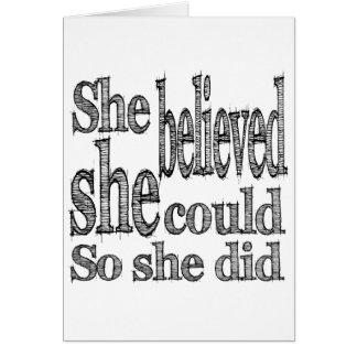 彼女は彼女をできました信じました従って彼女はしました カード