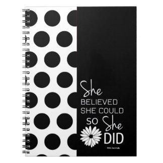 彼女は彼女をできました信じました(水玉模様B&W)の螺線形 ノートブック