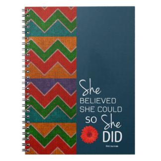 彼女は彼女をできました(シェブロンティール(緑がかった色)のオレンジの)螺線形信じました ノートブック